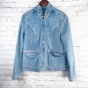 J JILL Jean Button Up Front Pocket Jacket M
